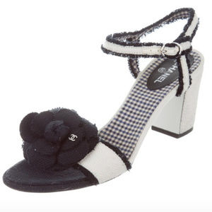 CHANEL Ivory Tweed Camellia Sandals Size 38